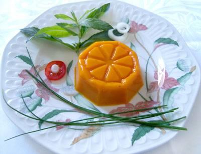 Flan agar-agar carottes menthe et crudités